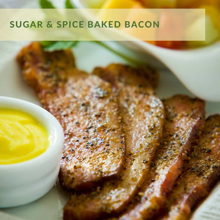 Sugar & Spice Baked Bacon | Inspired by Mustard