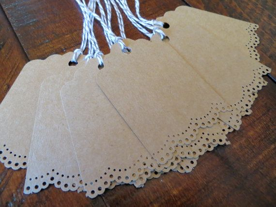 10 Blank Kraft Gift Tags, Wedding Favor Tags, or Escort Cards by Paperlaced, {$3.99} #etsy #handmade #rustic #weddings