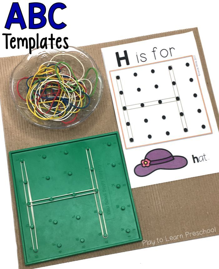 ABC templates for the geoboard make for a quick and easy alphabet literacy center.