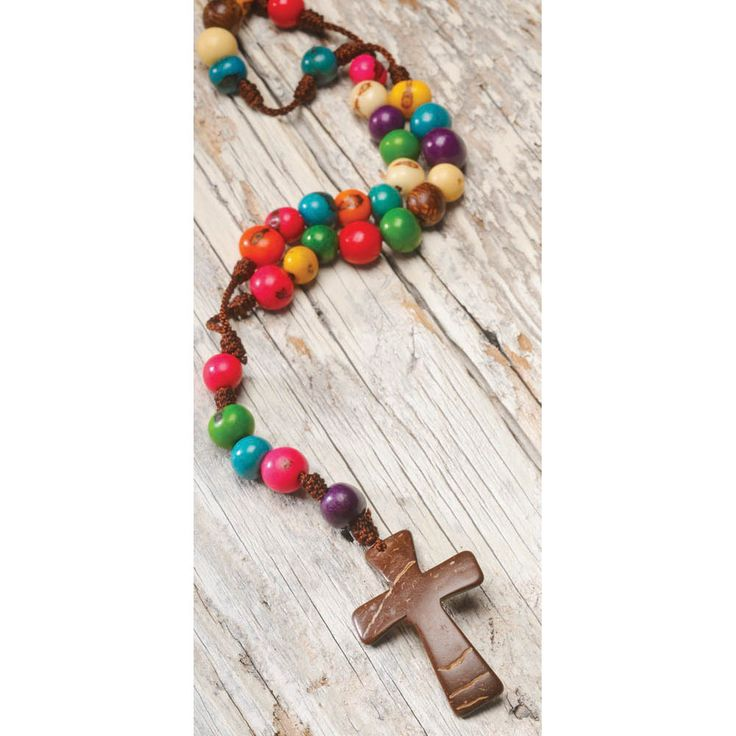 """Summer Clearance.  27% off Multi Color Rosary.    Boldly proclaim your faith with this bright rosary! Created by a group of Colombian women whose goal is to teach children the value of culture and sustainable practices in business. Made from coconut shell, acai seeds and cotton yarn. 18""""L. Fair Trade.  #Gifts #Lifestyle #Girlfriends #GirlPower #Inspirations #Sisterhood #Friendship #Jewelry"""
