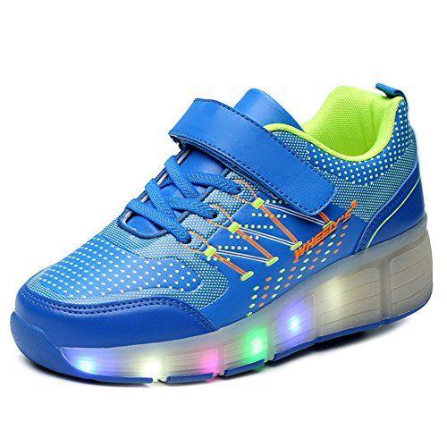 iBaste Schuhe mit Rollen LED Leuchtend Bunte Lichtfarbe Ohne USB AufladenSkateboard Kinder Mädchen Jungen Sneaker Turnschuhe Sportschuhe - http://on-line-kaufen.de/ibaste-9/34-eu-ibaste-schuhe-mit-rollen-led-leuchtend-bunte-3