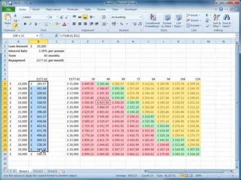 Excel's Business Tools - What-if Analysis - This video demonstrated the use of some of Excel's tools designed for what-if analysis. It uses the simple example of the PMT function in a loan calculator to demostrate Goal Seek, Data Tables and Conditional Formatting
