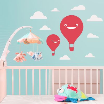 happy hot air balloon decals for nursery