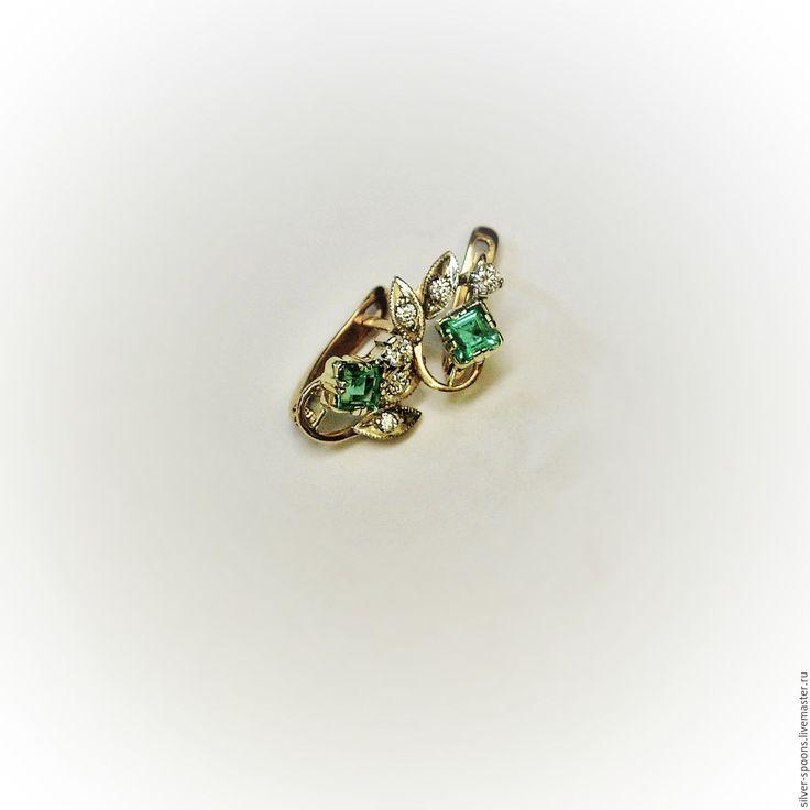 """Купить """"Весна"""". Классический гарнитур (кольцо и серьги) с изумрудом - драгоценные камни, серьги, классические серьги"""