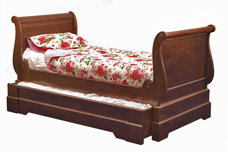 Mahogany Sleigh Daybed With Trundle Storage Underneath