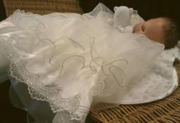 SL119 Sarah Louise 119 Ivory Tulle Christening Gown + Bonnet....click to enlarge