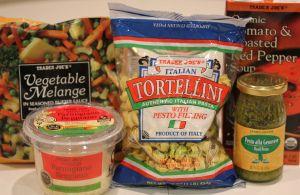 Trader Joe's tortellini w Roasted red pepper tomato soup