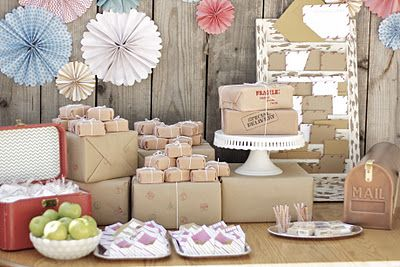 """Special Delivery Baby Bash"" = baby shower for Twins! brown paper packages tied up with string, cute envelopes holding cookies, guest bar to write birthday notes which will be delivered on their 1st birthday, basic flowers...too cute."