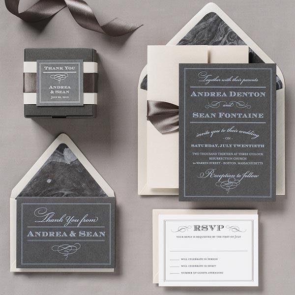 Bella Café Slate Wedding Invitation Suite