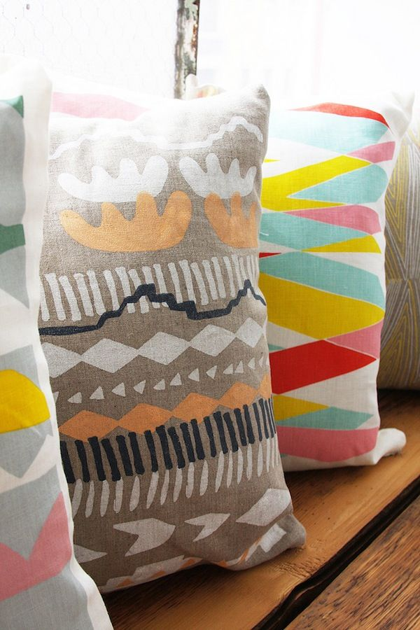 This gives me ideas for stenciling patterns onto material for pillows throws and floor pillows!