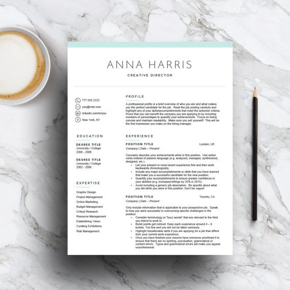 Creative Resume Template for Word & Pages 1 2 3 Page CV