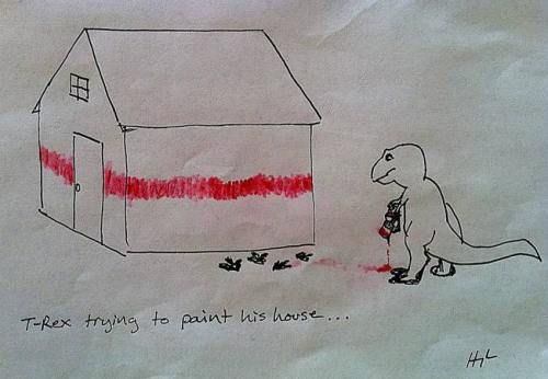 T-Rex painting a house @Leilani Kruger