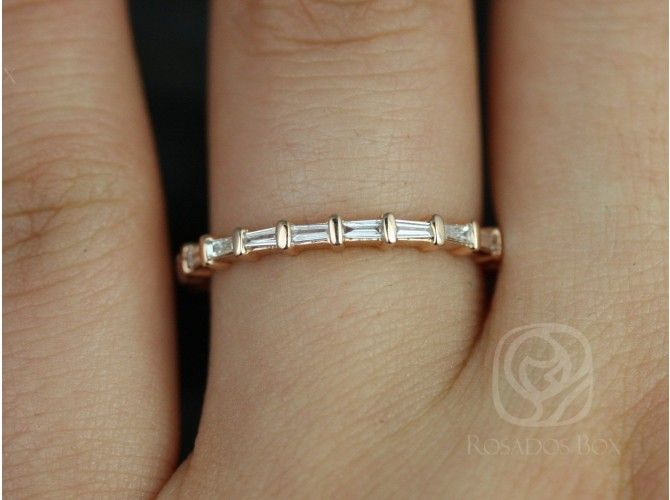 Rosados Box Baguettella Rose Gold Thin Horizontal Baguette Diamond Eternity Band