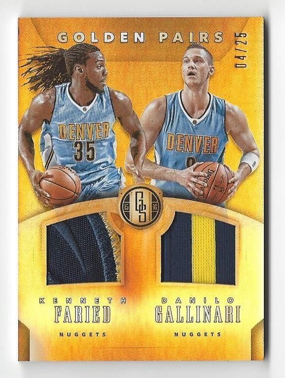 2015-16 Gold Standard Golden Pairs Patches Danilo Gallinari Kenneth Faried