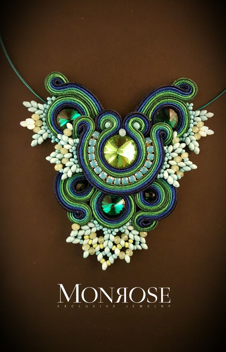 "Soutache necklace ""Water lily's"" by Monrose Jewerly"