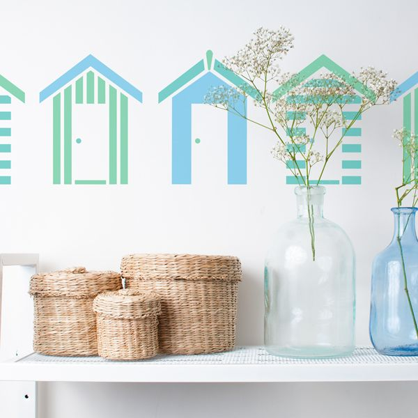 Stencils - Southwold Beach Huts Stencil - reusable wall stencil is perfect for decorating bathrooms and more. See more bathroom wall stencil designs at The Stencil Studio