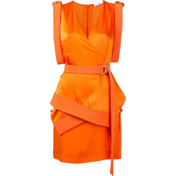 Mugler technical cady mini dress ($605) ❤ liked on Polyvore featuring dresses, thierry mugler, short orange dress, short dresses, orange dress and mini dress