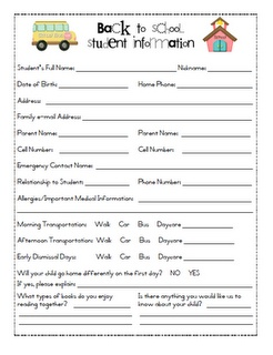 back-to-school info for parents to fill out before first day