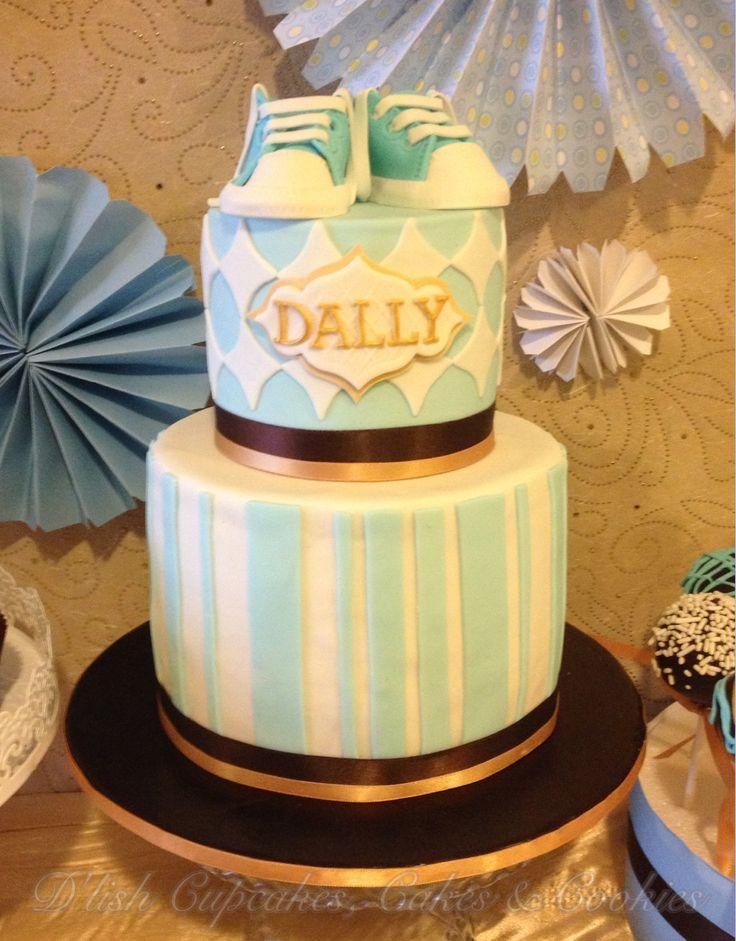 Christening cake for little boy design part of Dessert buffet. Made by D'lish Cupcakes & Accessories .