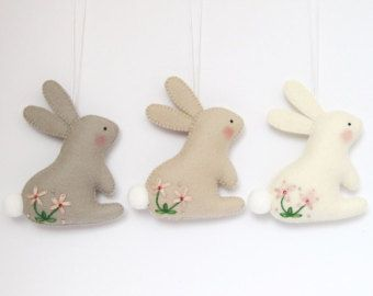Easter Brooch Bunny Felt Pastel Spring Flowers by pennysbykristie