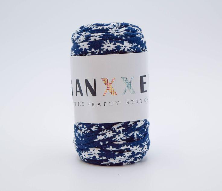 GANXXET Fabric Yarn - Pretoria ( navy blue with big flowers print )