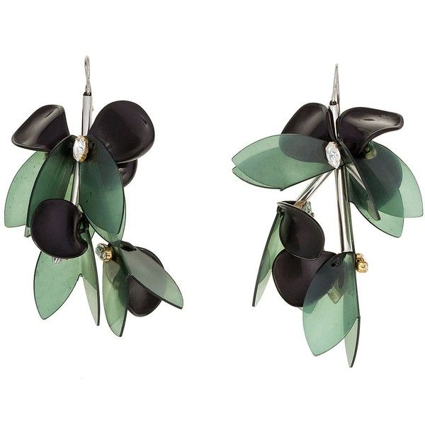 Marni Earring ($390) ❤ liked on Polyvore featuring jewelry, earrings, pine, leaf jewelry, marni, horn earrings, marni earrings and cabochon jewelry