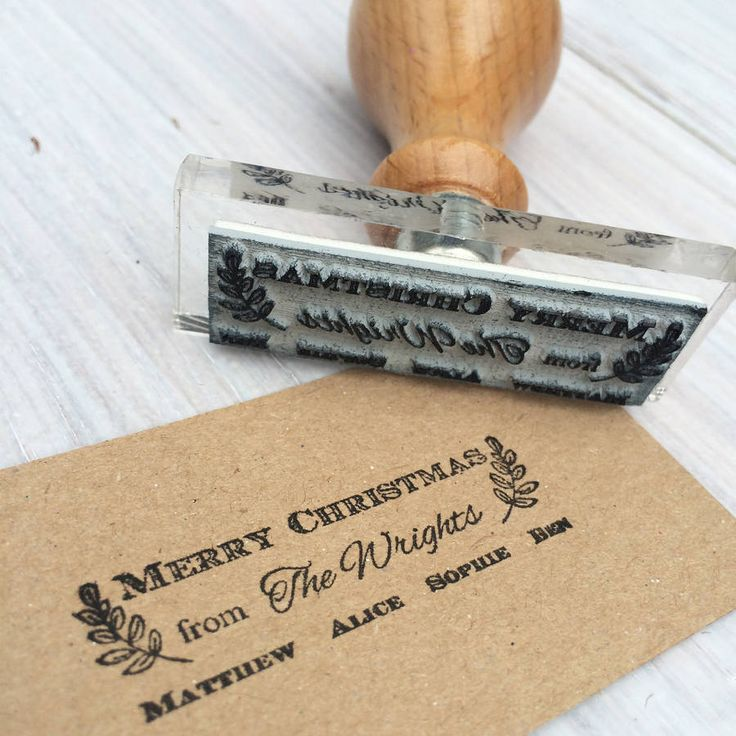 A bespoke family christmas stamp. Sign or create christmas cards easily. Suitable for single, a couple or any size family.Add a genuine brass wax seal to add a note of luxury to envelopes or design your own cards.