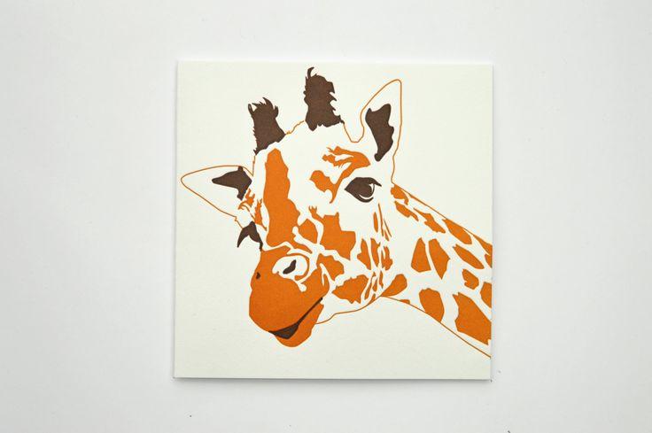 Giraffe card - Safari Animals - Luxury Cards - Giraffe print - African Animals - Letterpress Cards -  Wild Animal Birthday Card - Blank Card by PenguinInks on Etsy https://www.etsy.com/listing/253195514/giraffe-card-safari-animals-luxury-cards