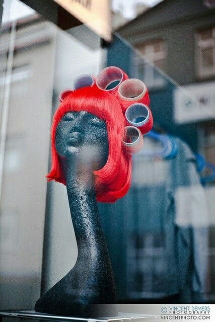 Hair salon window display