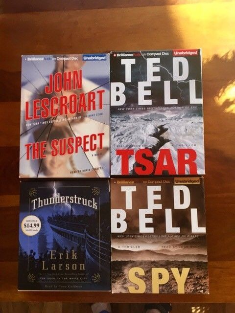 4 MYSTERY AUDIO BOOK THRILLERS -TED BELL (2) - ERIK LARSON - JOHN LESCROART