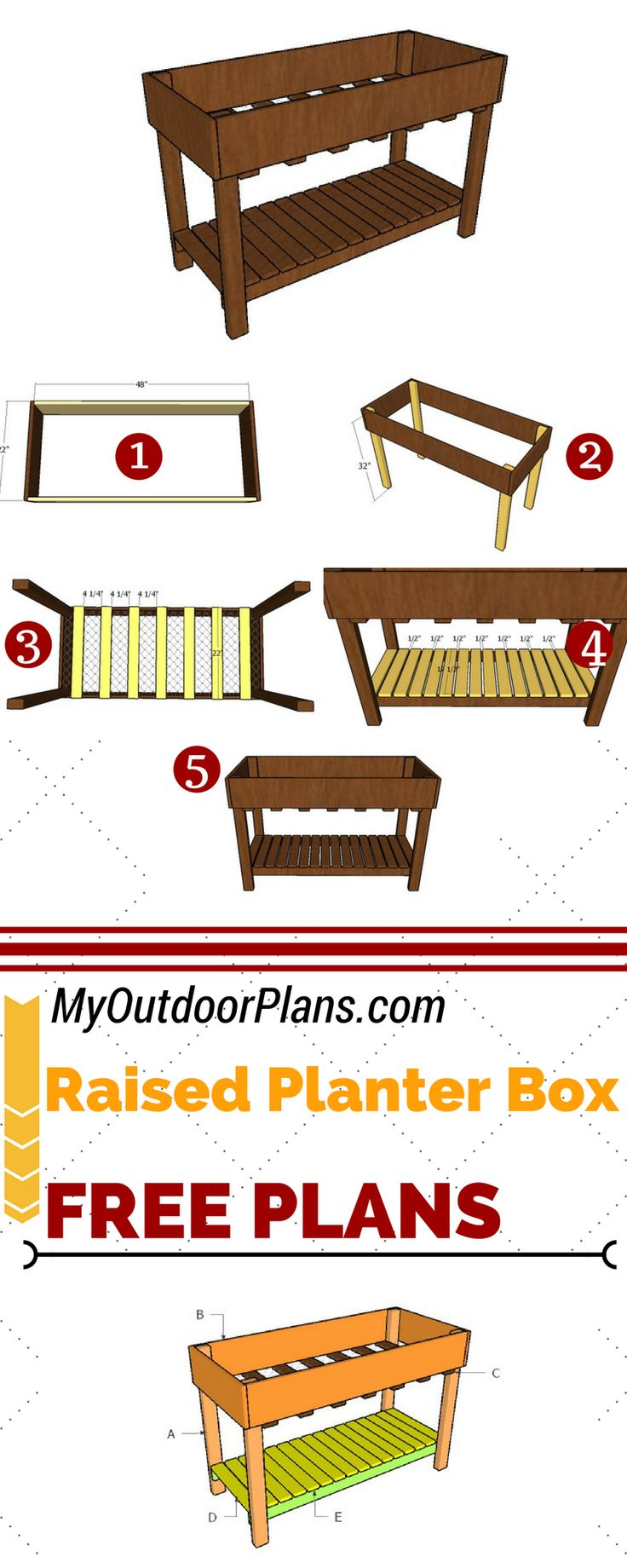 Free plans for building an counter height raised garden bed. This planter box is easy to build and it will add value to your property. Full plans at: MyOutdoorPlans.com #diy #planter