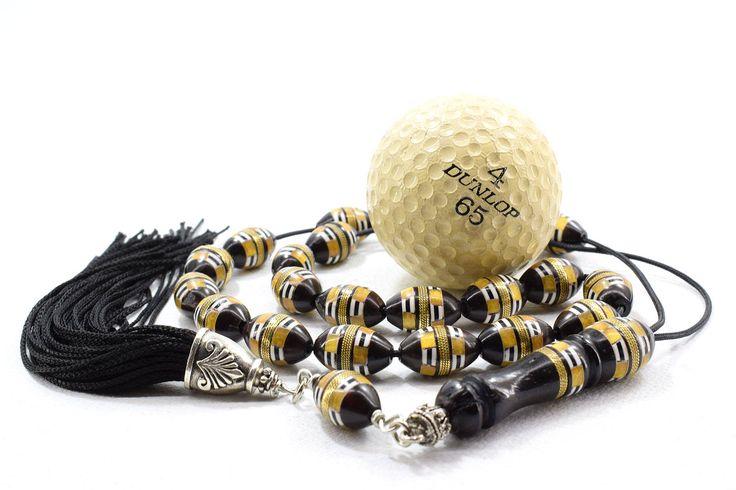 Black Cook Wood, Worry Beads, Komboloi, with Amber, Camel Bone, and Gold tone metal inlays, Greek Komboloi, Stress Relief, Handmade Tassel
