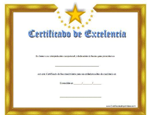 Certificado de Excelencía para imprimir los certificados, gratis para descargar e imprimir