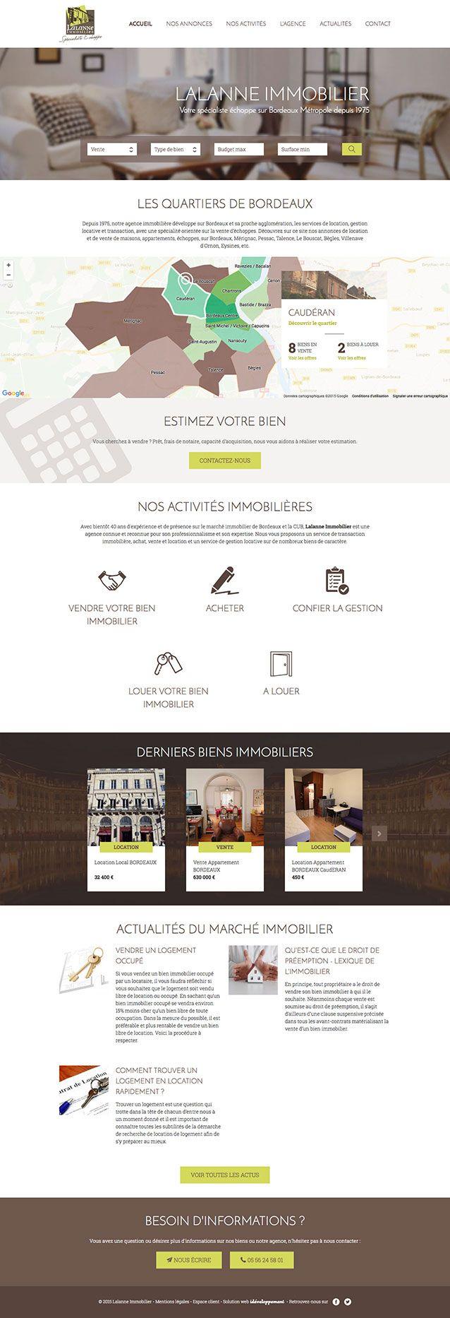 Lalanne Immobilier - idéveloppement : création de site internet bordeaux #webdesign #frontend #backend