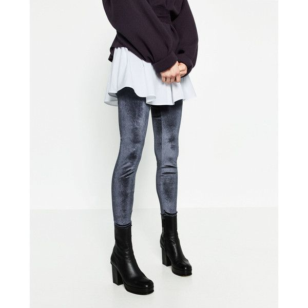 FLUWELEN LEGGING - Alles bekijken-BROEKEN-DAMES | ZARA Nederland (1.130 RUB) ❤ liked on Polyvore featuring pants, leggings, white legging pants, white pants, white trousers, white leggings and legging pants