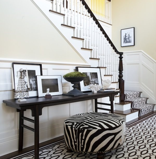 stair carpet and rug, zebra ottoman