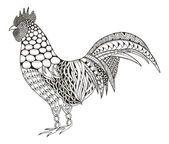 Петух zentangle стилизованный, вектор, иллюстрации, шаблон, руки карандаш, рисованной. Петух черный и белый. Богато. Zen Искусство — стоковый вектор
