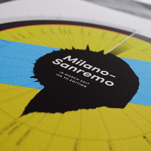 A closer and better look at our Milano-sanremo print, now available on our website. We're working on the Falnders already . . . #velo #pro #cycling #classics #monuments #teamsky #followme #art #infographic #mace #massifcentral #milano #sanremo