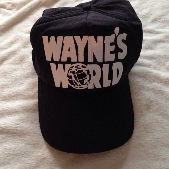 Wayne's World hat Screen print hat. Black snap back. Worn for one day as Halloween costume of Wayne Cambell. No trades. Accessories Hats