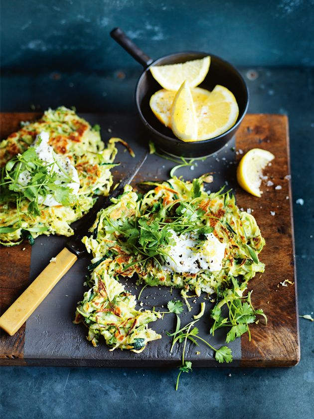 two veggie loves: zucchini and brussels sprouts fritters. for more delicious recipes visit movenourishbelieve.com