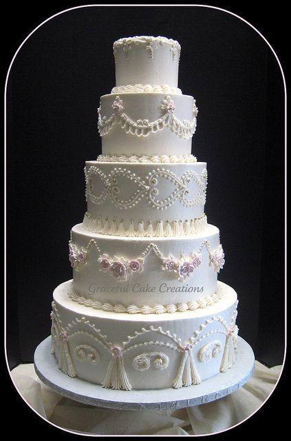 Vintage Ivory Wedding Cake by Graceful Cake Creations, via Flickr
