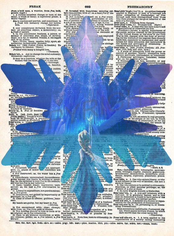 Frozen Elsa Snowflake Dictionary Art Print by AmourPrints on Etsy