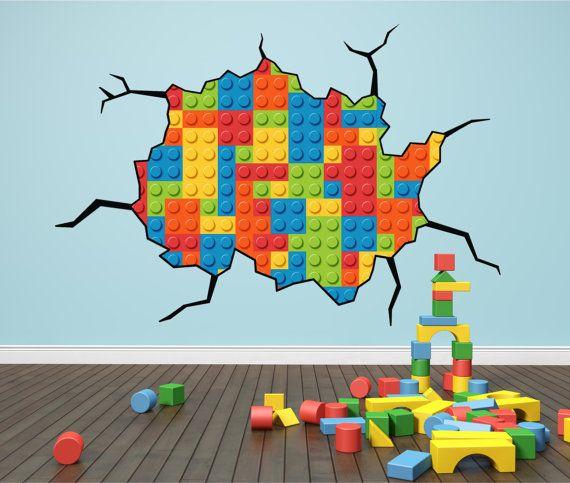 Lego Bricks Cracked Wall Kids Wall Art by WallPrintCreations