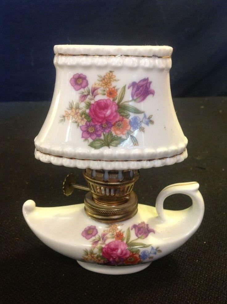 Vintage Antique Ceramic Japan Mini Finger Oil Lamp With