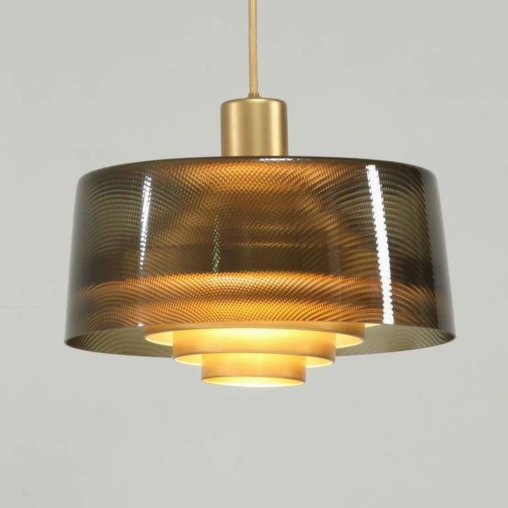 Lisa Johansson-Pape; Glass and Brass Ceiling Light for Orno, 1950s.