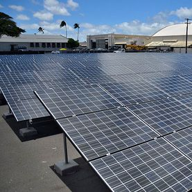 MiSolar panels form part of the Renewable Hydrogen Fueling and Production Station on Joint Base Pearl Harbor-Hickam, Hawaii.