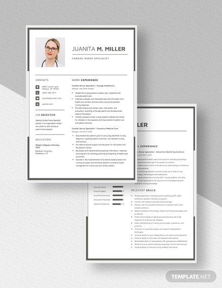cardiac nurse specialist resume template in 2020  resume