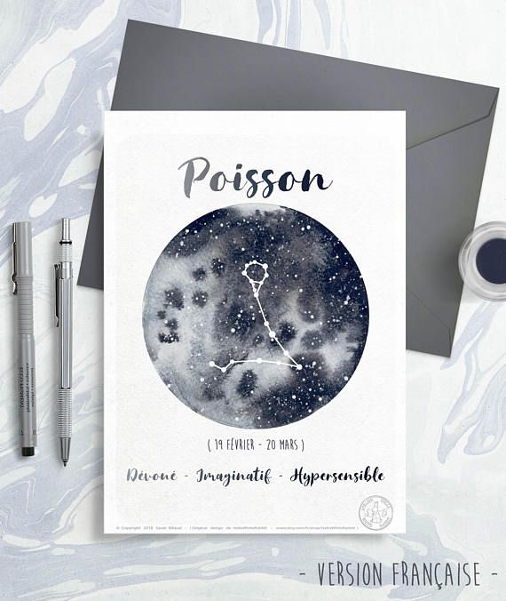 Astrology Card – Zodiac Indicators – Pisces, Milky means Watercolor, Sky constellations illustration, Galaxy drawing, Give as a present, March month