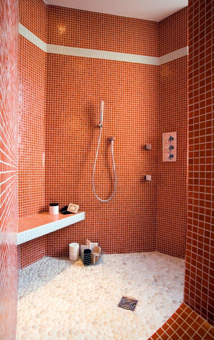 Douche à Lu0027italienne Sans Receveur Salle De Bains Rouge