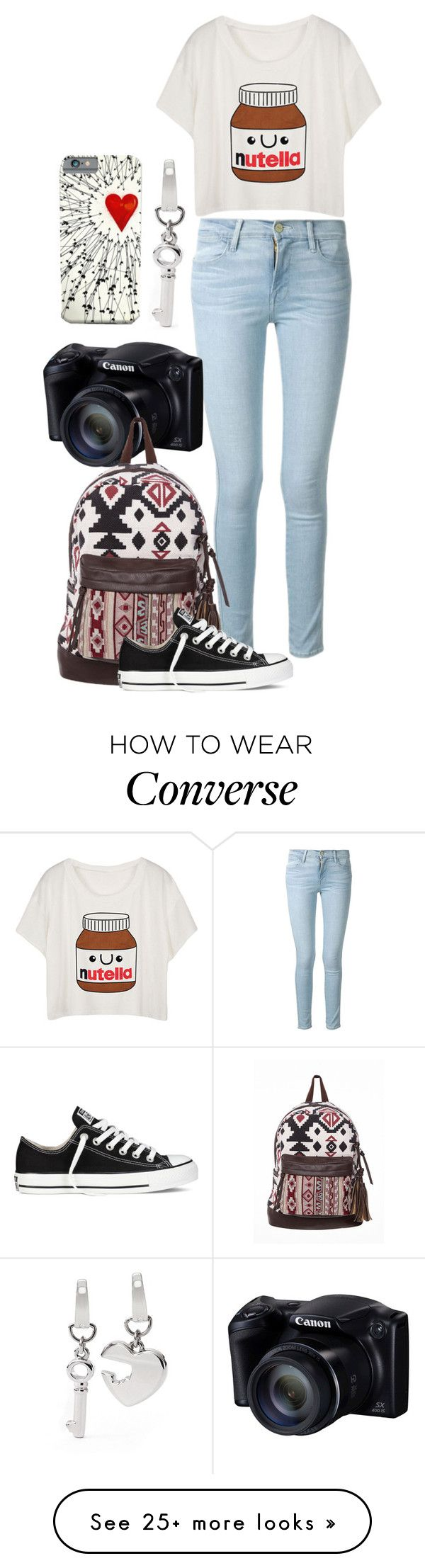 """A friends look"" by gracerose03 on Polyvore featuring Frame Denim, Converse and FOSSIL"